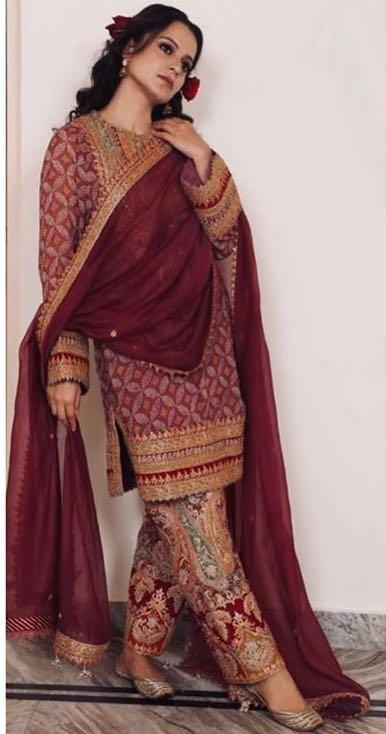 Yay or nay? Kangana Ranaut wearing a Rimple and Harpreet Narul outfit at her brother's haldi - SeenIt
