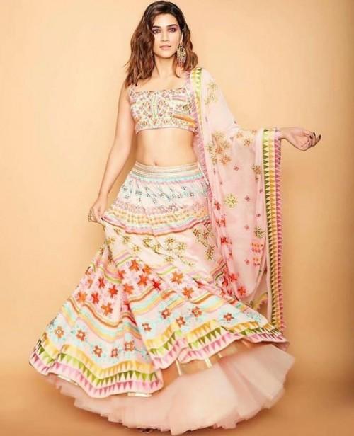 Yay or nay? Kriti Sanon seen wearing a multi colored lehenga  choli attire - SeenIt