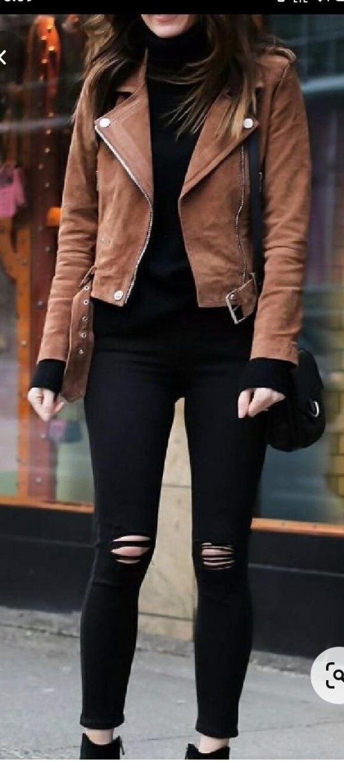 I'm looking for this leather jacket , t shirt and ripped jeans - SeenIt