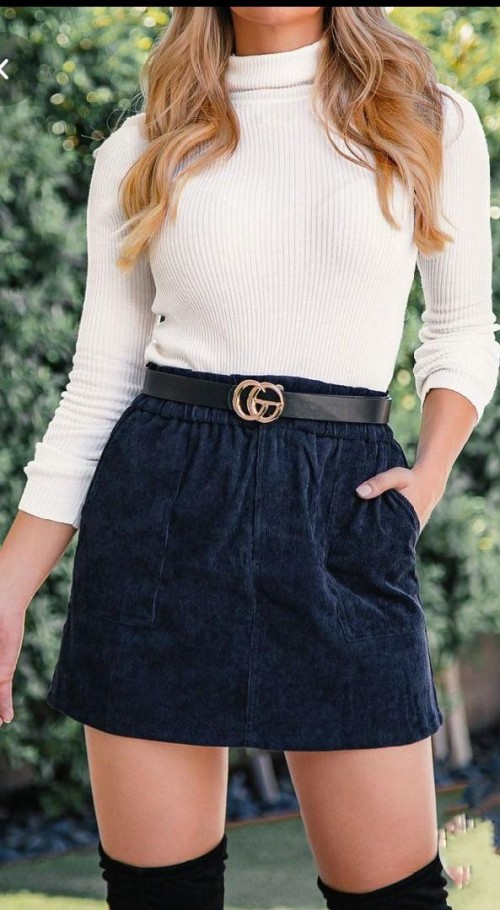 I'm looking for this turtle neck top and the velvet textured skirt with belt - SeenIt