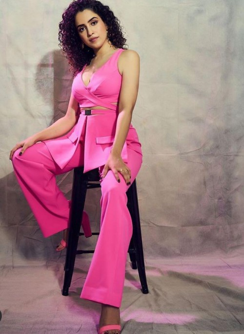 Yay or nay? Sanya  Malhotra seen wearing a pink pant suit by Sukriti Grover for the promotions of Ludon - SeenIt