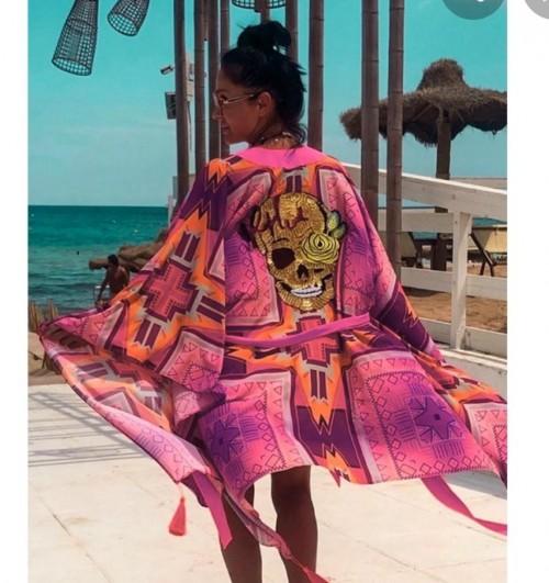 exact romantic skull kimono worn by Laura in 365DNI #indian website only - SeenIt