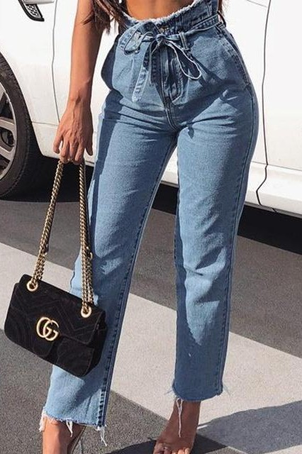I need exactly same tie up scrunched jeans please. - SeenIt