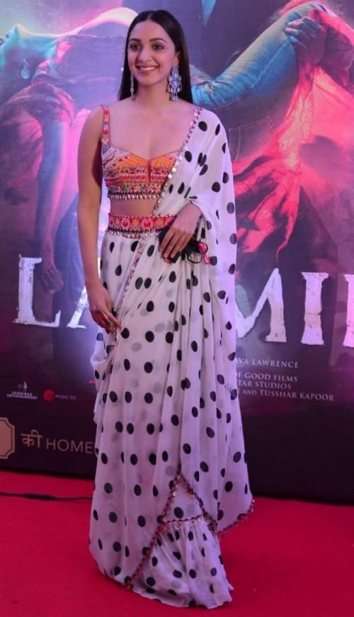 Yay or nay? Kiara Advani seen wearing a Tamanna Ounjabi Kapoor saree outfit at the promotions of Laxmi - SeenIt