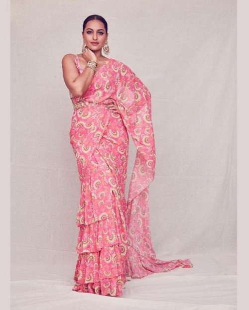 Yay or nay? Sonakshi Sinha wearing a pink printed saeee with tiers - SeenIt