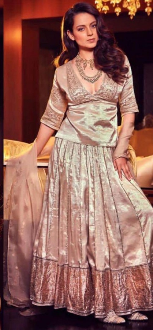 Yay or nay? Kangana Ranaut seen wearing a gold lehenga choli attire recently - SeenIt