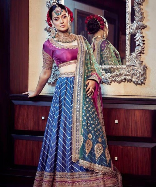 Yay or nay? Kangana Ranaut seen wearing a blue and pink lehenga attire at her brothers wedding - SeenIt