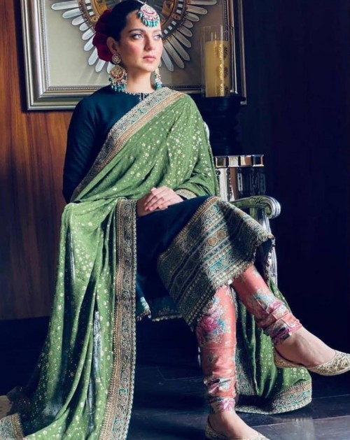 Yay or nay? Kangana Ranaut seen wearing a black and green outfit at her brothers wedding - SeenIt