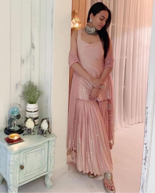 Yay or nay? Sonakshi Sinha seen wearing a pink sharara outfit this diwali - SeenIt