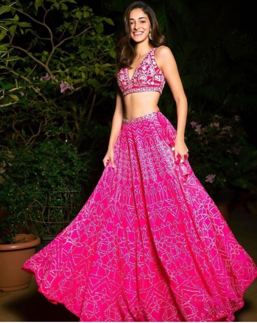 Yay or nay? Ananya Pandey seen wearing a pink lehenga attire this year on Diwali  - SeenIt