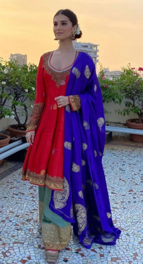 Yay or nay? Tara Sutaria seen wearing a multi colored silk sharara outfit on diwali this year - SeenIt