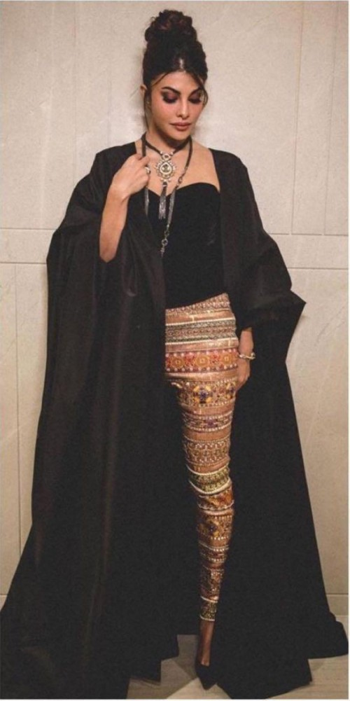 Yay or nay? Jacqueline Fernandez seen wearing a black Tarun Tahiliani outfit recently - SeenIt