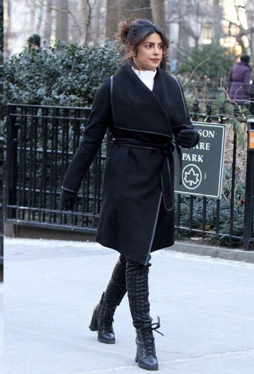 Yay or nay? Priyanka Chopra spotted wearing a black long coat on the streets of New York - SeenIt