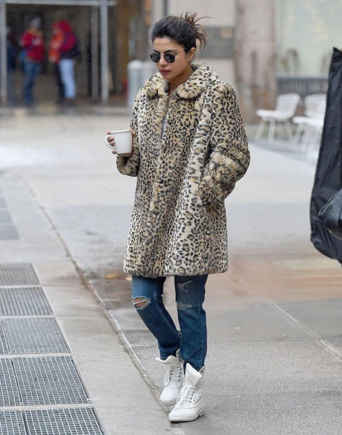 Yay or nay? Priyanka Chopra spotted wearing a long animal print coat on the streets of  New York - SeenIt