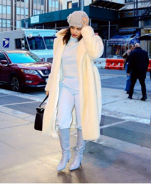 Yay or nay? Priyanka Chopra spotted wearing a lemon long coat on the streets of New York - SeenIt