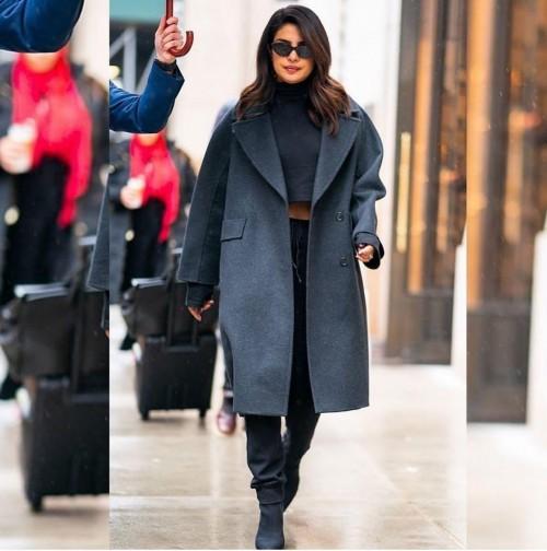 Yay or nay? Priyanka Chopra seen wearing a grey long coat recently - SeenIt