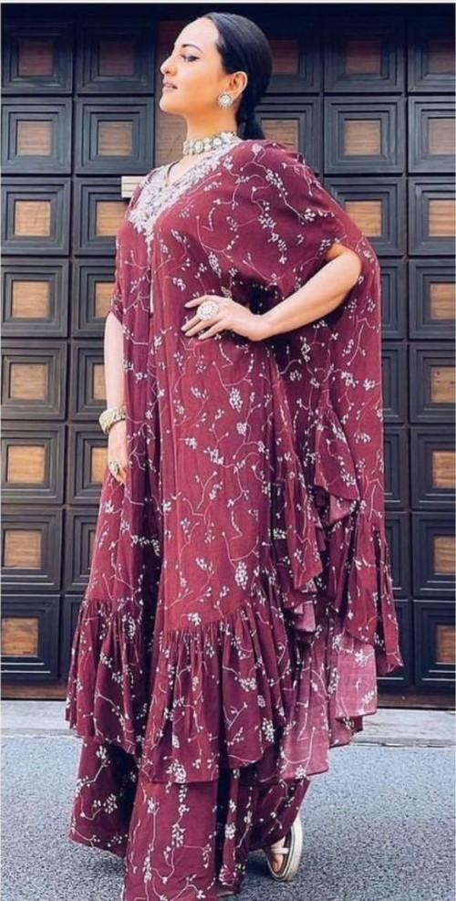 Yay or nay? Sonakshi Sinha seen wearing a maroon Arpita mehta outfit - SeenIt