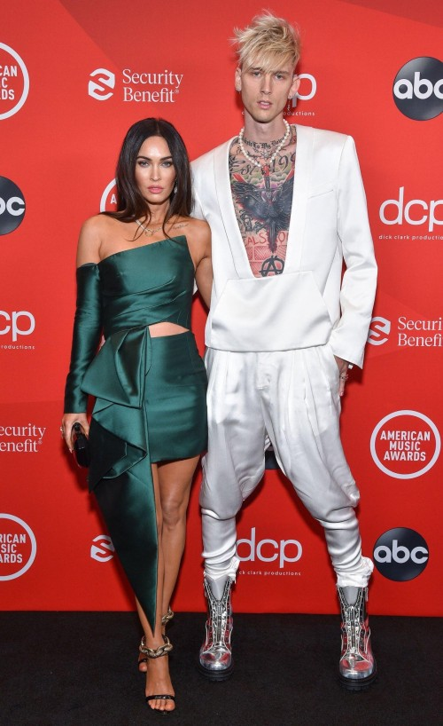 Yay or nay? Megan Fox wearing a green dress outfit attends the AMA2020 with Machine Gun Kelly - SeenIt