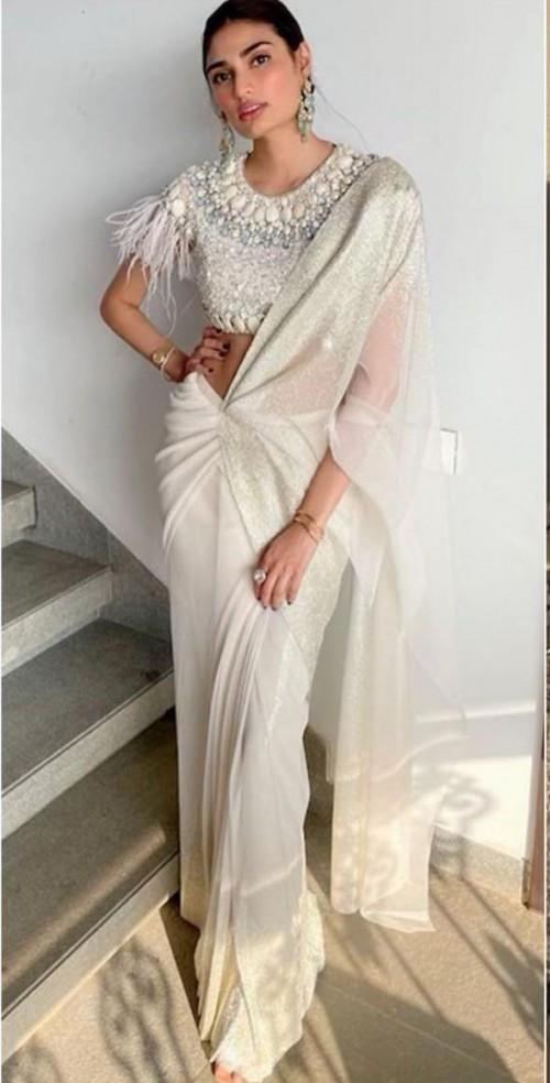 Yay or nay? Athiya Shetty seen wearing a white saree by Tarun Tahiliani - SeenIt
