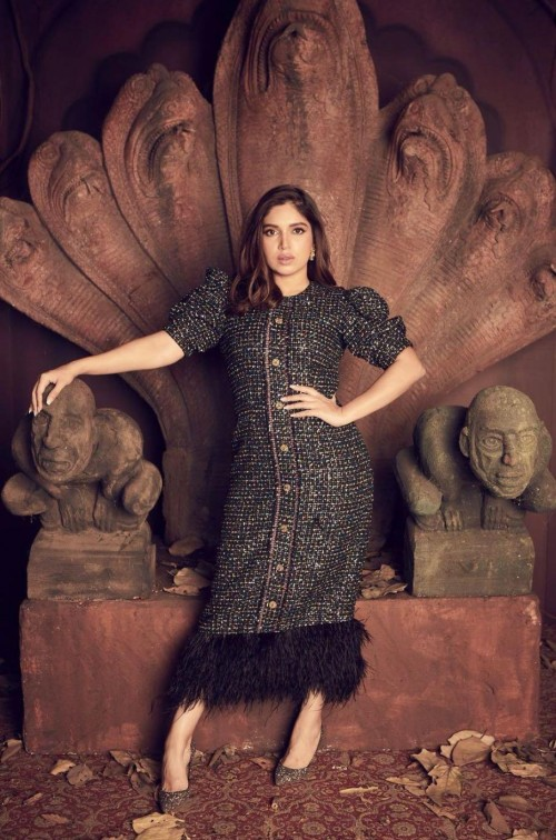 Yay or nay? Bhumi Pednekar seen wearing a black tweed midi dress with buttons at the promotions of Durgamati - SeenIt