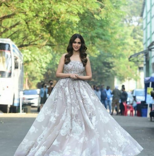 Yay or nay? Genelia d Souza seen wearing a strapless gown at an event today - SeenIt