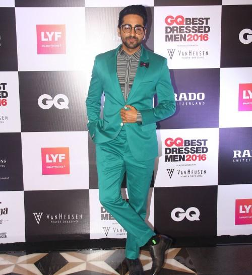 Ayushmann Khurrana looked classic in a green suit by designer Rohit Gandhi + Rahul Khanna. - SeenIt