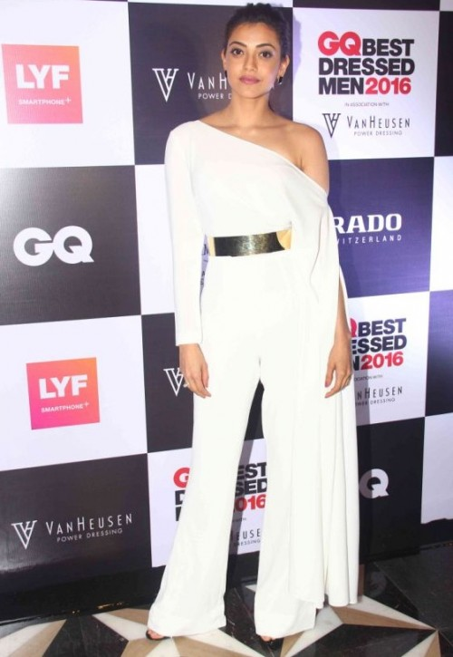 Kajal Aggarwal looked stunning in Isabel Sanchis white outfit accessorized with a gold belt. - SeenIt