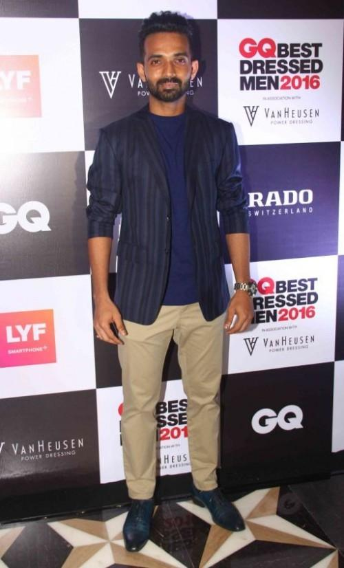 Cricketer Ajinkya Rahane was among many, who arrived at the GQ 2016 event. - SeenIt