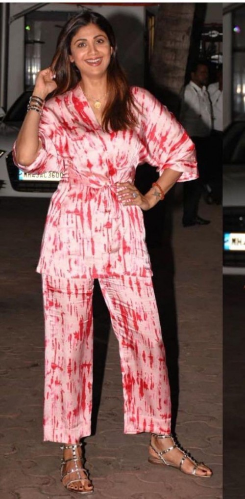 Yay or nay? Shilpa Shetty seen wearing a tie and dye satin pant suit recently - SeenIt