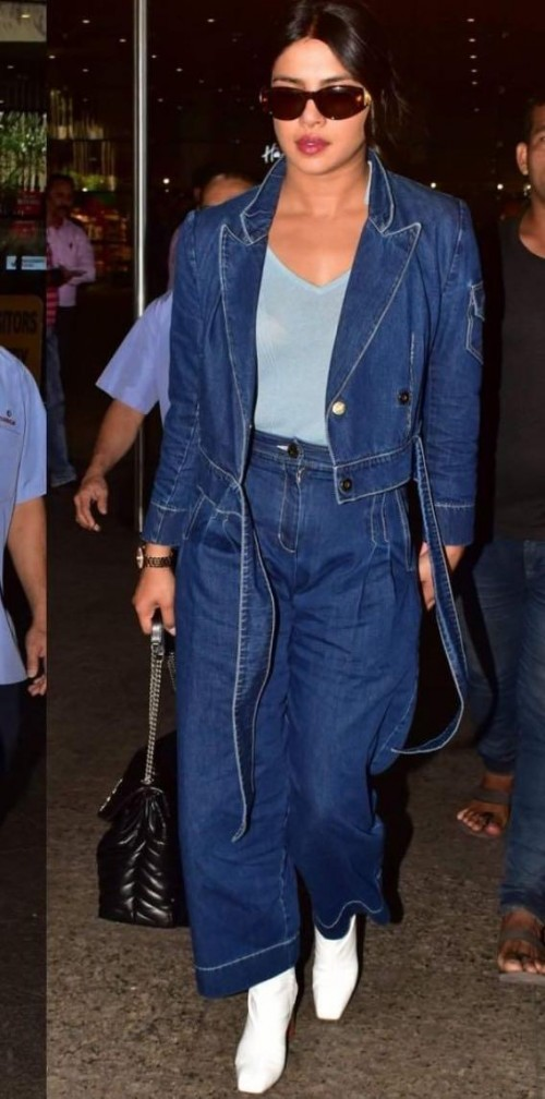 Yay or nay? Priyanka Chopra seen wearing a denim on denim outfit at the airport recently - SeenIt