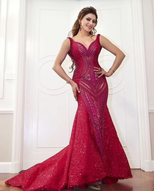 Yay or nay? Urvashi Rautela seen wearing a red trail gown for an event - SeenIt
