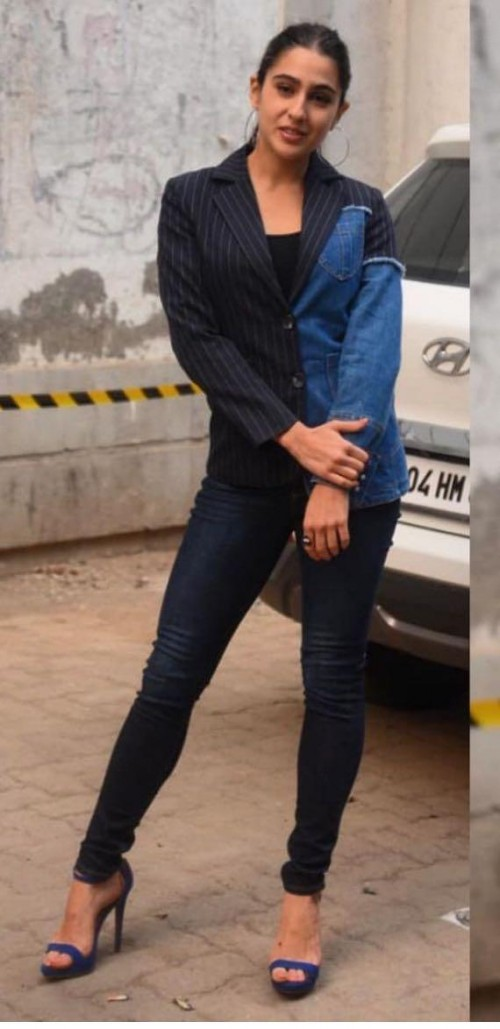 Yay or nay? Sara Ali Khan seen wearing a two tone denim jacket with denims recently - SeenIt