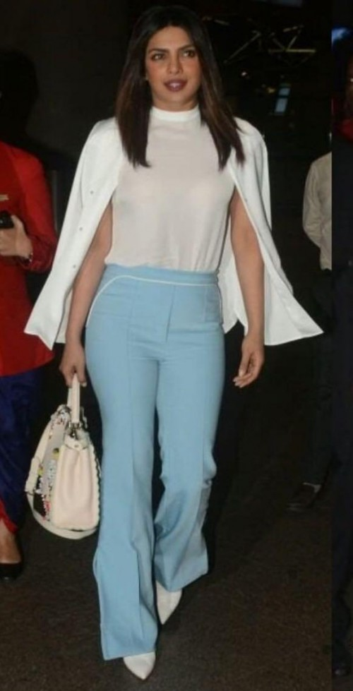 Yay or nay? Priyanka Chopra seen wearing a white and blue outfit at the airport - SeenIt