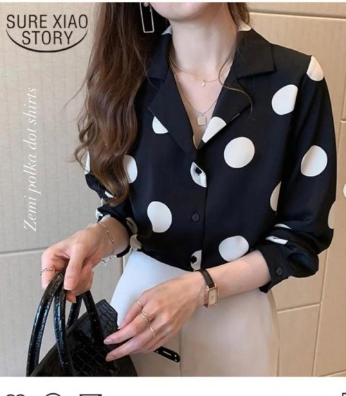 Want a polka dot navy blue shirt - SeenIt