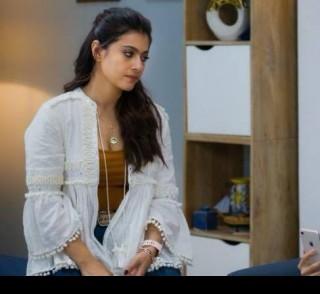 Help me find a similar white shrug like Kajol is wearing in Tribhanga movie - SeenIt