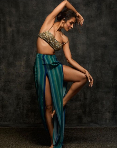Yay or nay? Malaika Arora wearing an embroidered bustier with slit skirt for the Arpita Mehta shoot - SeenIt