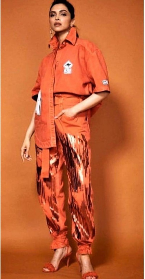 Yay or nay? Deepika Padukone seen wearing an orange outfit with shimmer pants - SeenIt