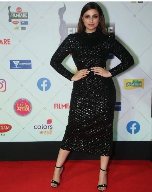 Yay or nay? Parineeti Chopra seen wearing a black shimmer midi dress recently at an awards function - SeenIt