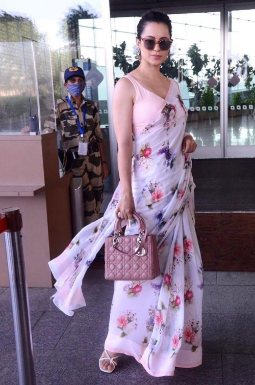 Yay or nay? Kangana Ranaut seen wearing a floral print saree recently at the airport - SeenIt