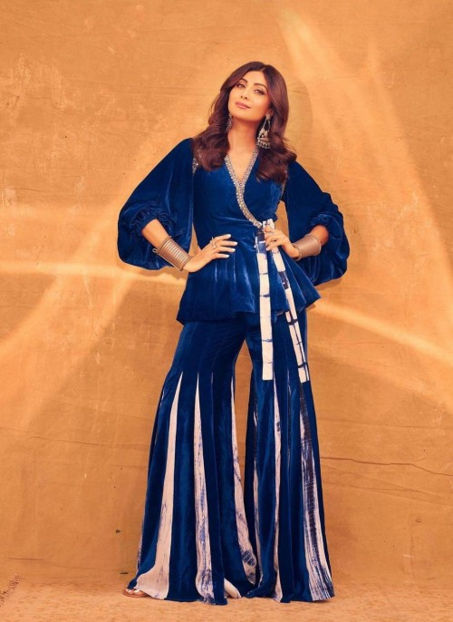 Yay or nay? Shilpa Shetty seen wearing a blue velvet two piece outfit - SeenIt