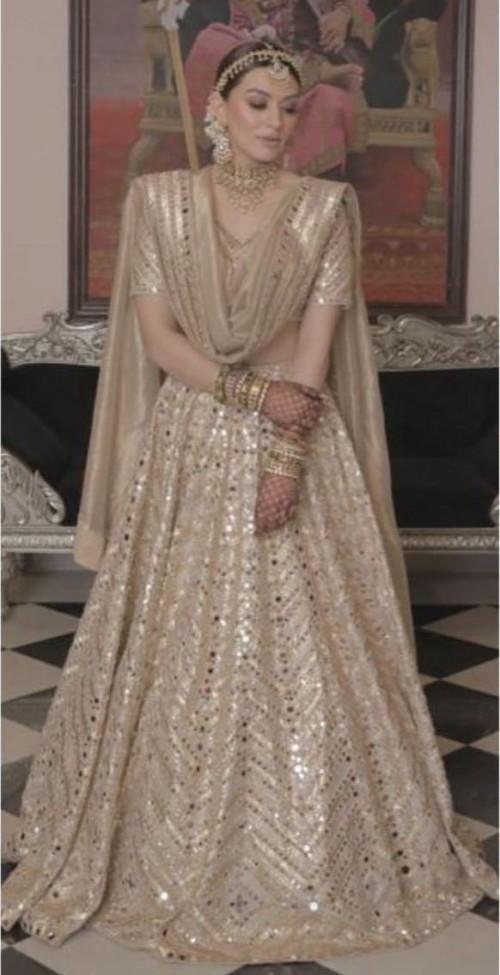 Yay or nay? Hansika Motwani seen wearing a beige embroidered Abhinav Mishra lehenga set - SeenIt