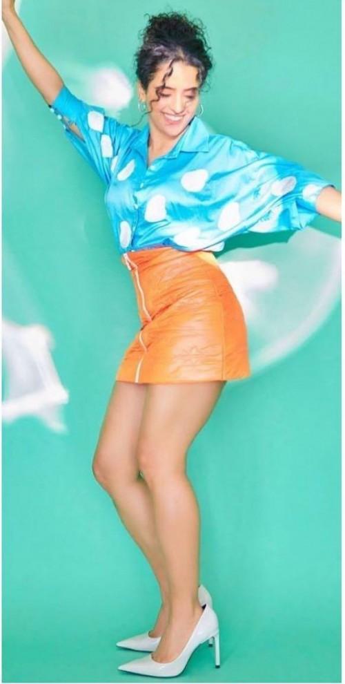 Yay or nay? Sanya Malhotra seen wearing an orange skirt and polka dot top - SeenIt