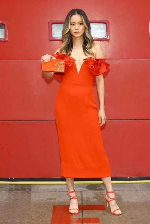 Yay or nay? Jamie Chung wearing a red off shoulder outfit for the virtual red carpet of SAG AWARDS 2021 - SeenIt