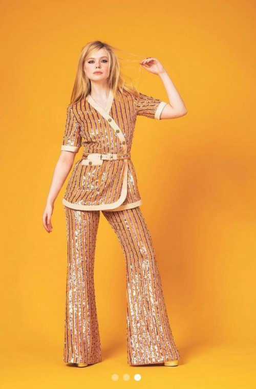 Yay or nay? Elle Fanning seen wearing a sequin embellished coord set for the virtual red carpet of SAG awards 2021 - SeenIt