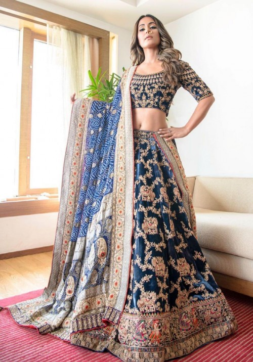 Yay or nay? Hina Khan seen wearing a blue embellished lehenga attire - SeenIt