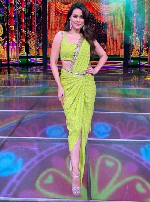 Yay or nay? Waluscha D Souza seen wearing a neon lime green drape saree outfit - SeenIt