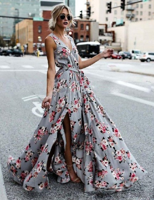 Please help me find a similar maxi floral dress in baby blue colour - SeenIt