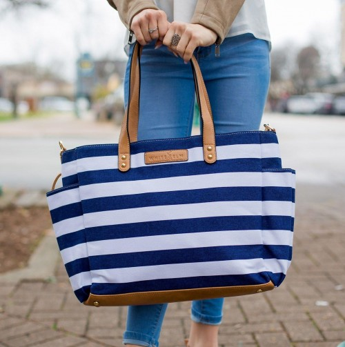 This blue-white stripe beach tote bag, please - SeenIt