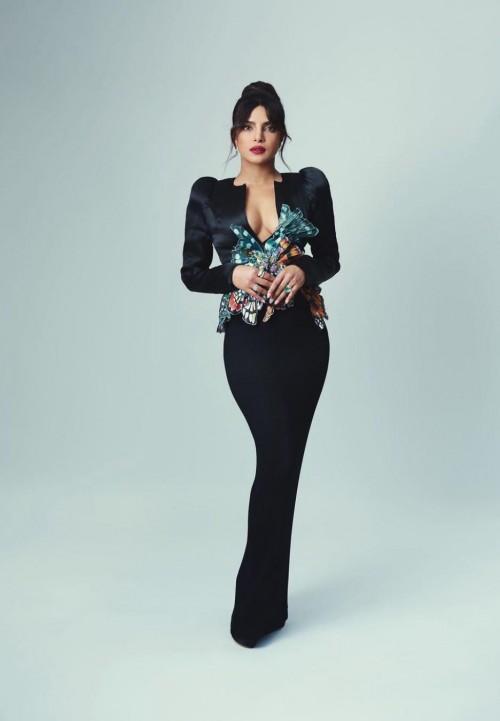 Yay or nay? Priyanka Chopra seen wearing a black plunge neckline gown at the BAFTAS2021 - SeenIt