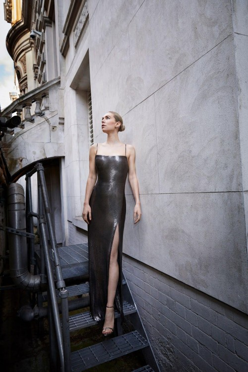 Yay or nay? Vanessa Kirby attends the BAFTAS2021 wearing a black shimmer slit gown - SeenIt